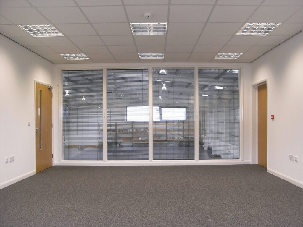 mezanine with glass partition