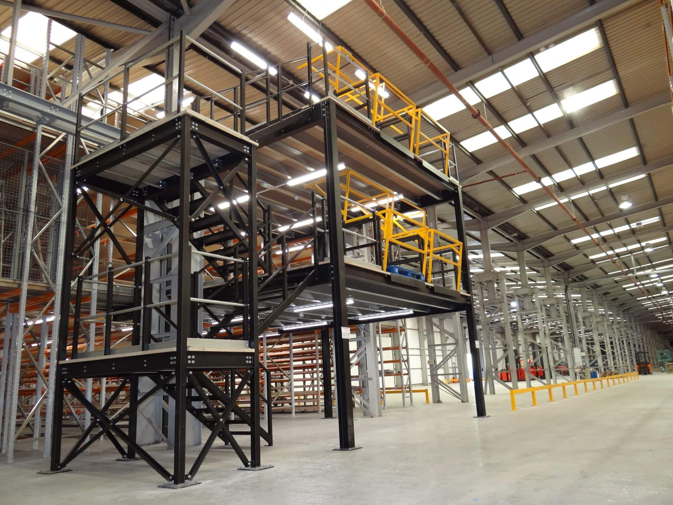 Heavy Duty Mezzanine Floor in black and yellow