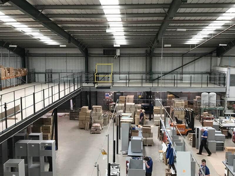 Warehouse Storage mezzanine floor with edge protection
