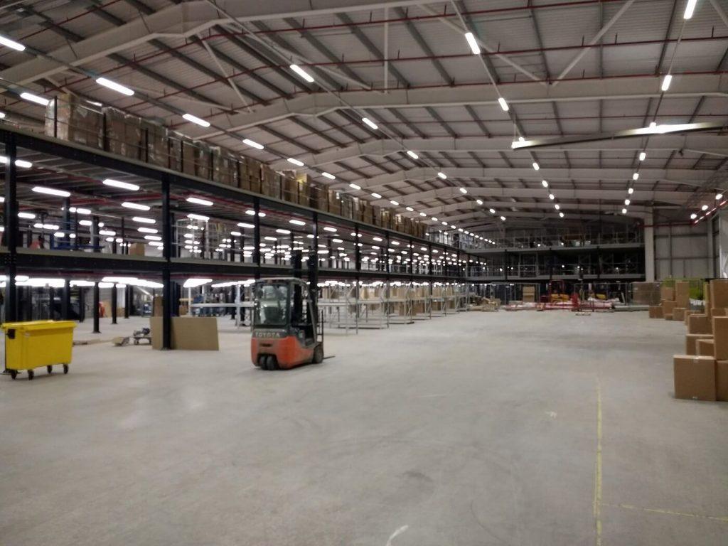 Two tier mezzanine in Pavers warehouse