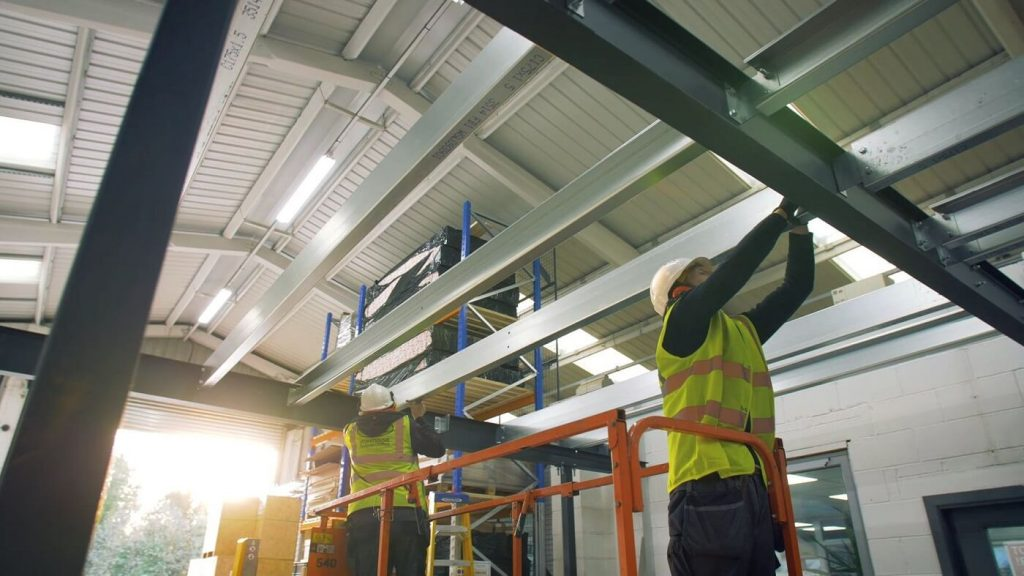 mezzanine floor being installed