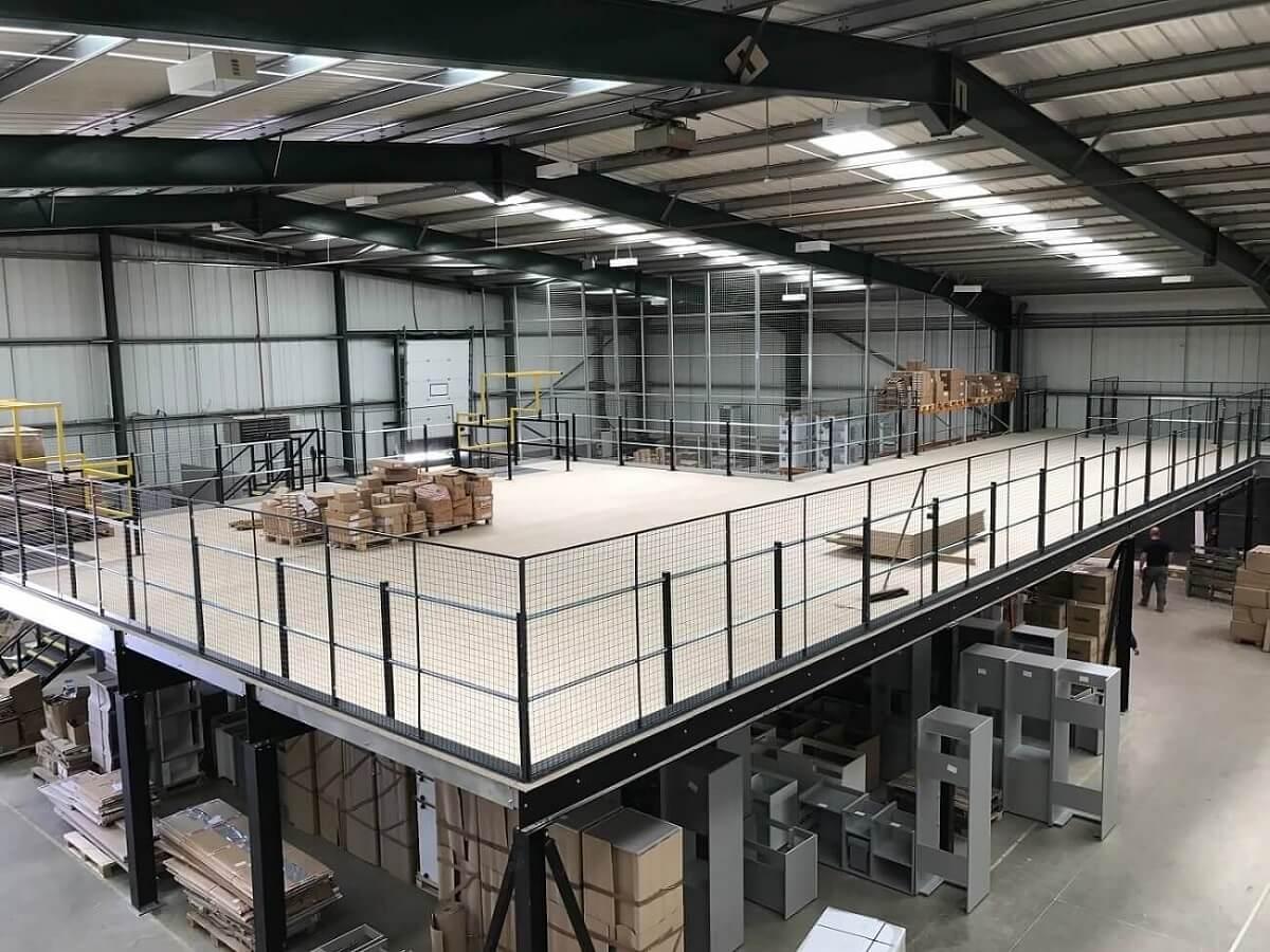 A mezzanine floor in warehouse environment
