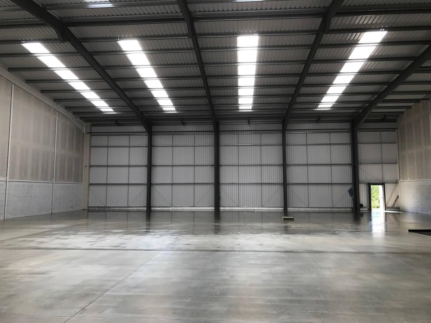 Mezzanine floor recently installed in warehouse