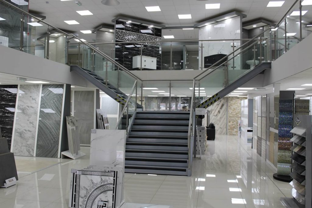 This retail mezzanine features a Y shaped staircase