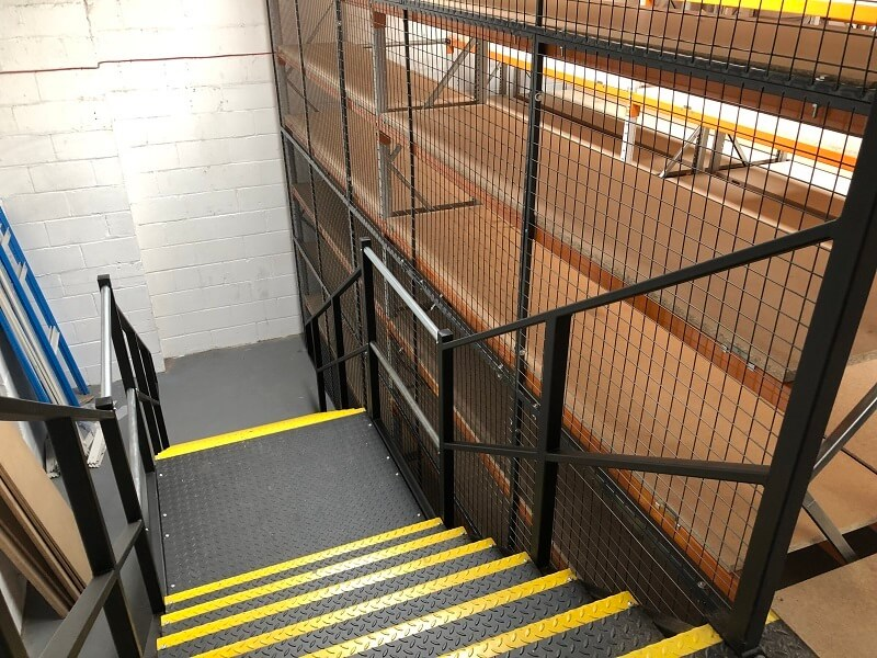 Multi tier shelving access staircase