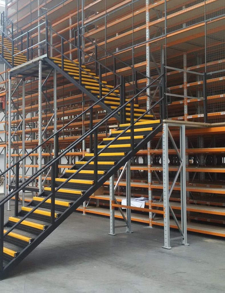 Multi tier shelving system staircase position