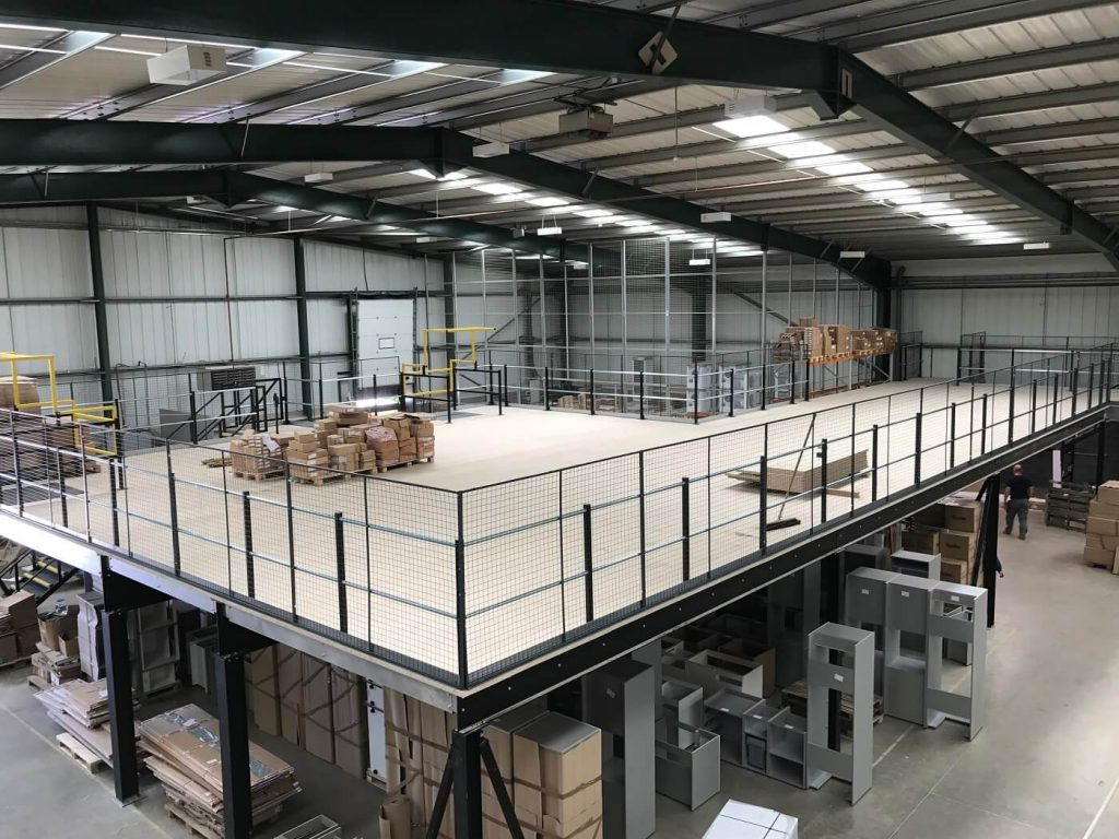 storage mezzanine floor in warehouse