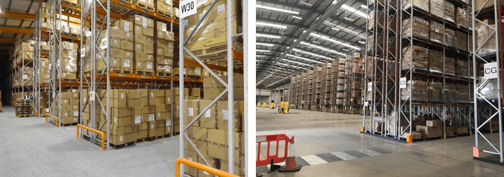Wide aisle and double deep pallet racking