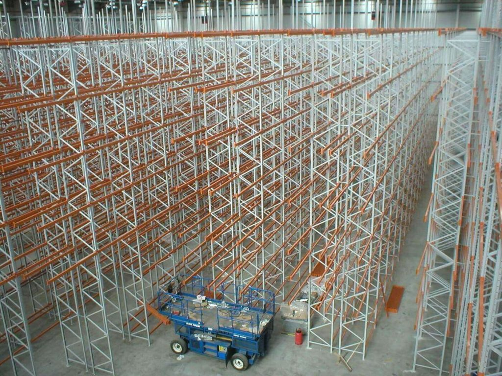 Pallet racking view from height
