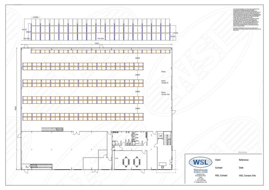 Warehouse racking and layour plan example