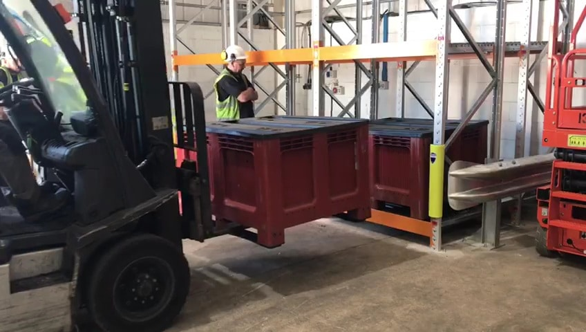 Push back Racking being loaded using fork lift truck