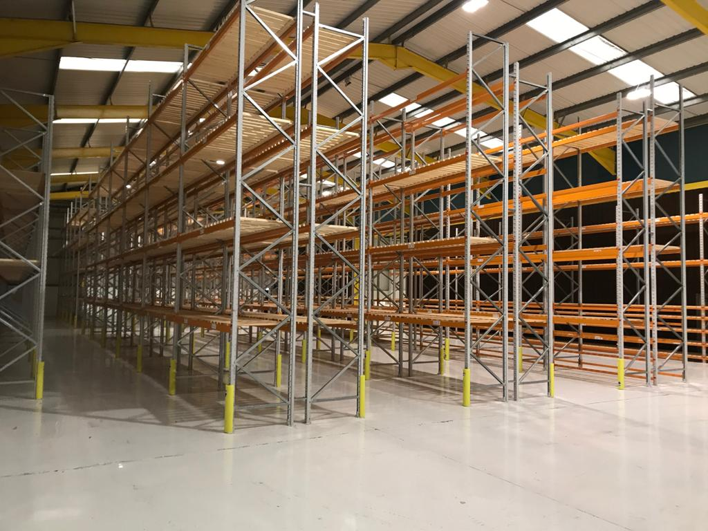 robust wide aisle racking structure with timber decking
