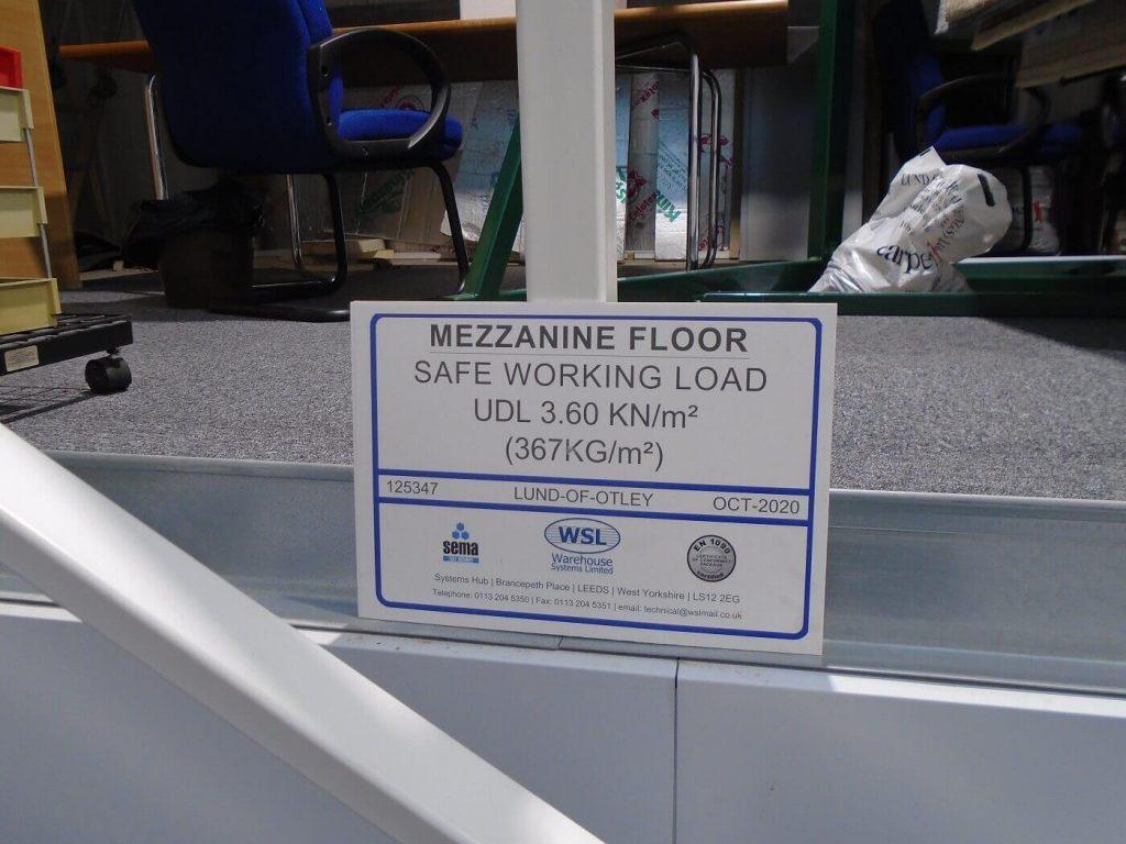 Mezzanine floor weight load notice