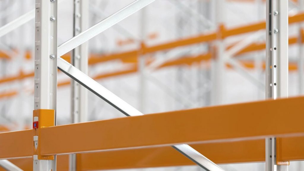Wide aisle racking structural beams