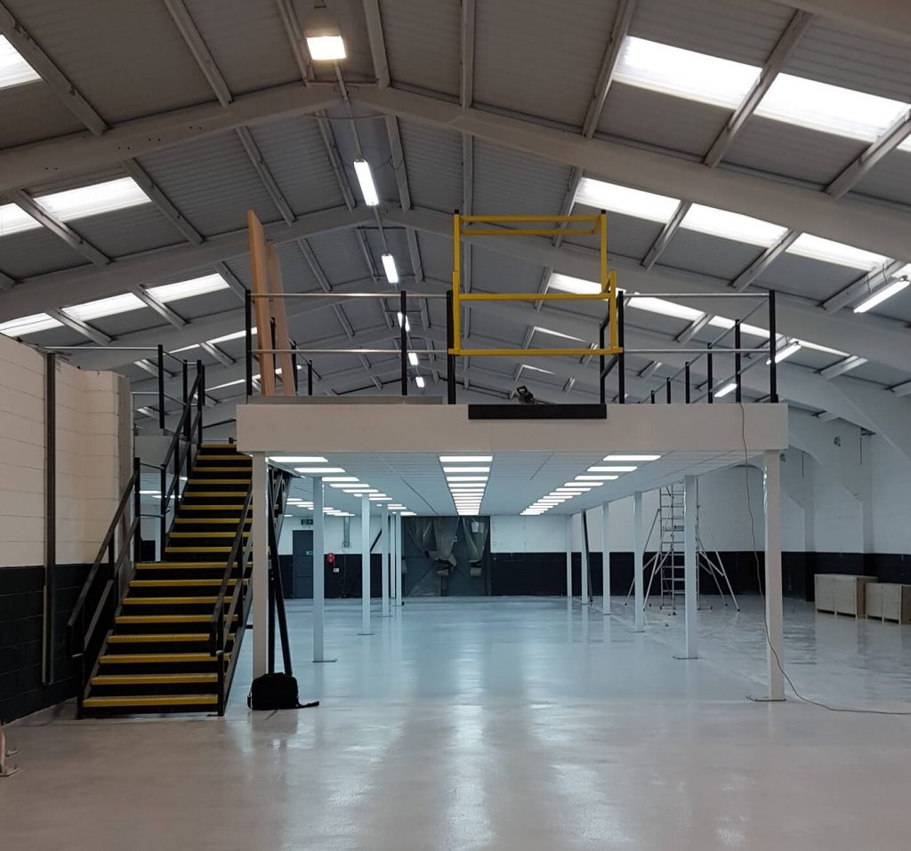 completed mezzanine left clean and tidy