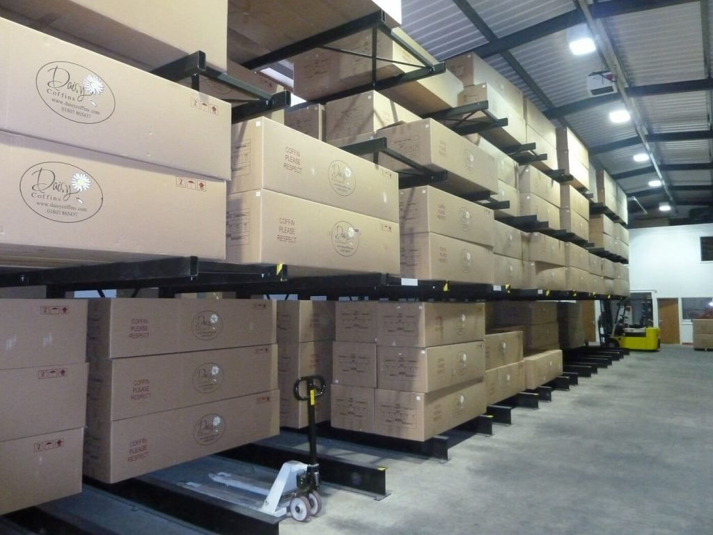 Coffin storage using cantilever racking