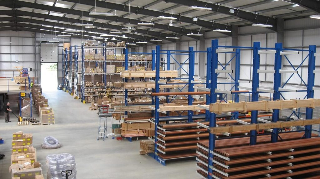 Warehouse with cantilever racking installed