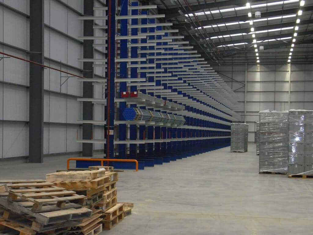 cantilever racking positioned back to back