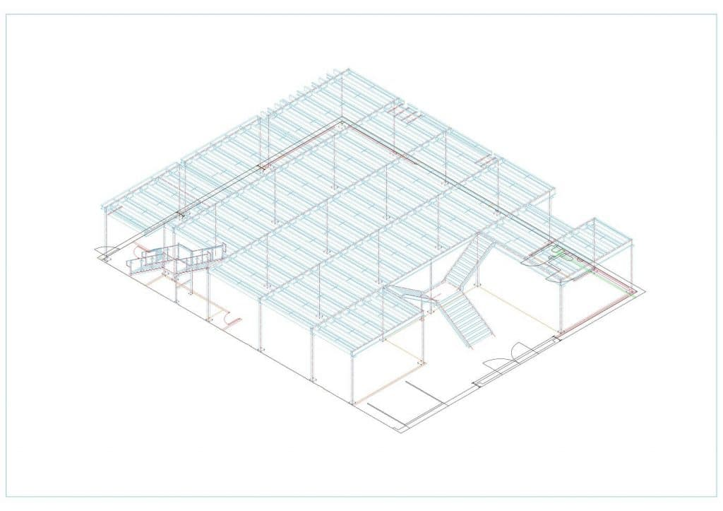 Computerised plan drawing of mezzanine floor showing staircase locations, positions and shape